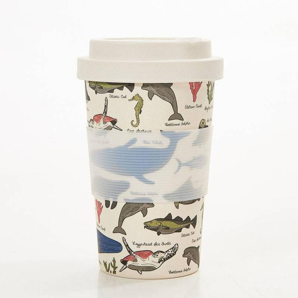Beige Sea Creatures Bamboo Cup