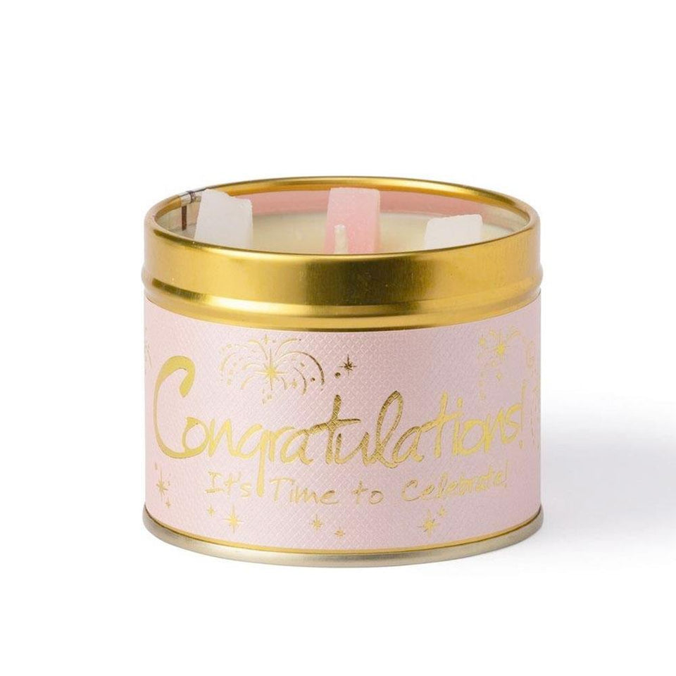 Congratulations Soft Pink & Gold Candle Tin
