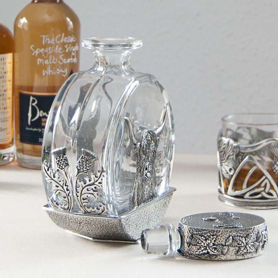 Highland Cow Round Pewter Decanter