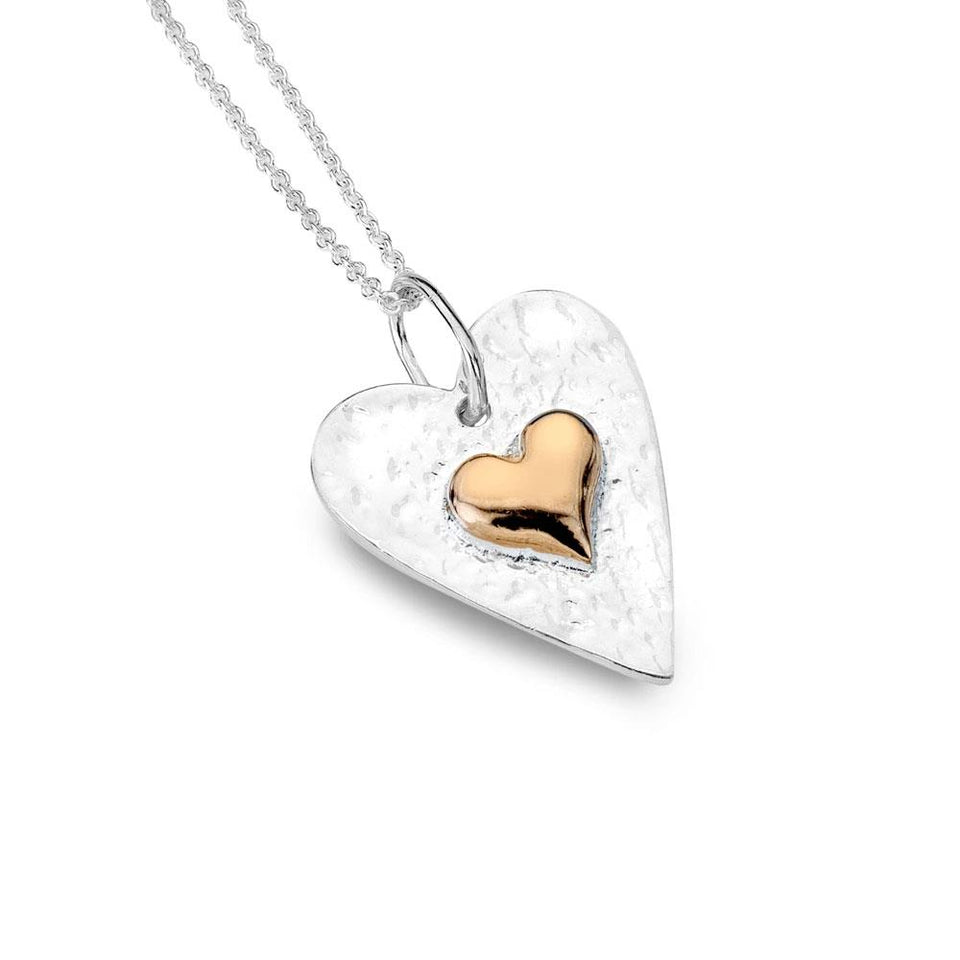 Organic Textured Heart Rose Gold & Silver Pendant Necklace