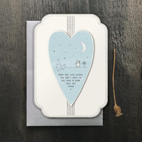 Mums Are Stars Heart Card