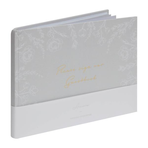Our Wedding Day Grey Floral Guest Book
