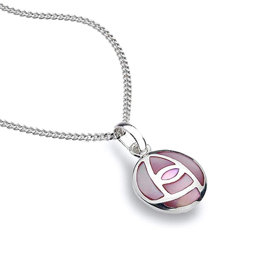 Mackintosh Rose Pink Mother of Pearl Round Silver Pendant Necklace