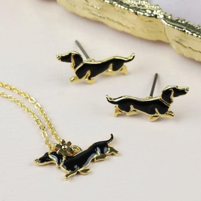 Sausage Dog Necklace & Earrings Set