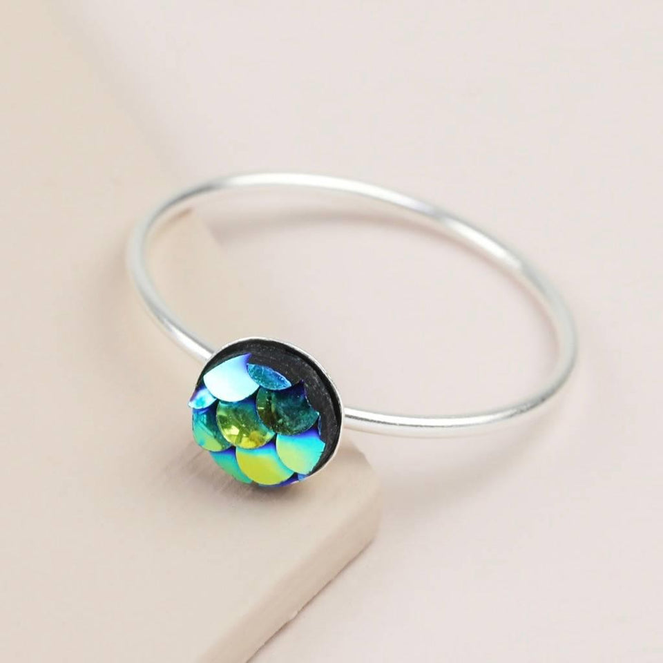 Sterling Silver Iridescent Petrol Mermaid Ring