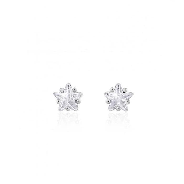 Astra Silver Star Crystal Stud Earrings