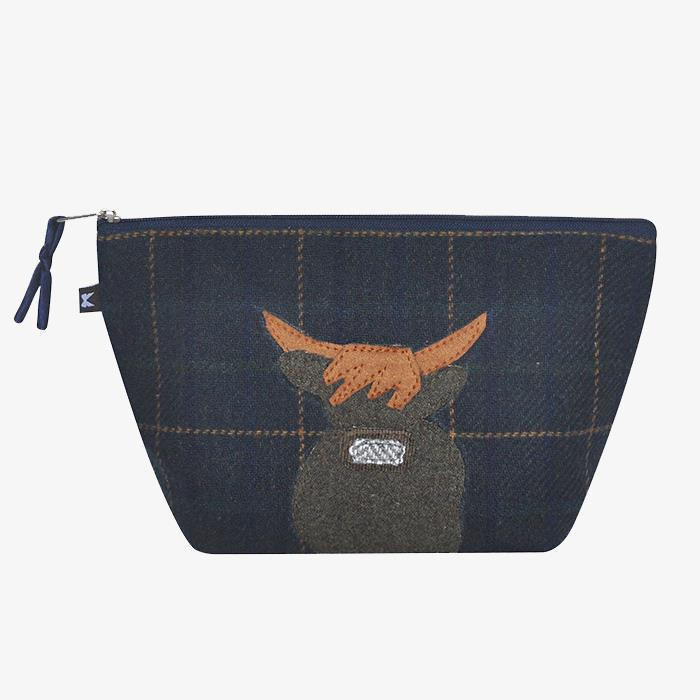 Navy Cow Applique Make Up Bag