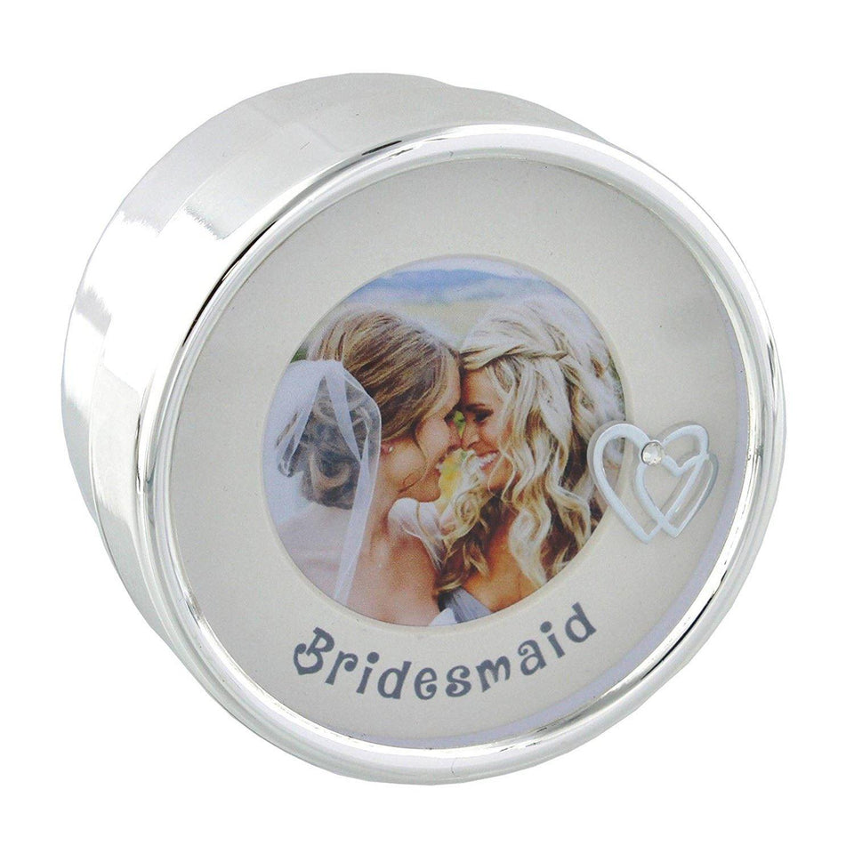 Bridesmaid Silverplated Trinket Box with Frame Lid