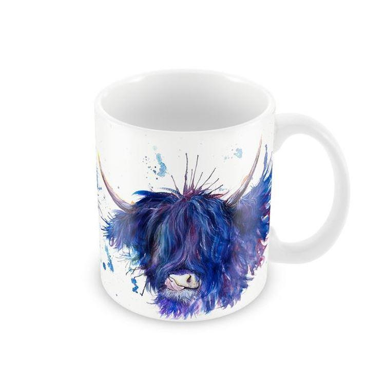 Splatter Highland Cow With Tongue Mug | Purple and Blue