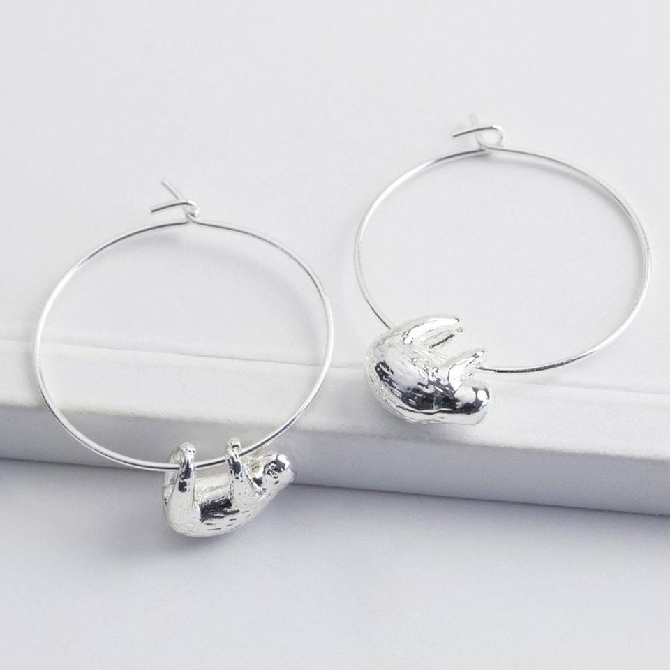 Silver Sloth Charm Hoop Earrings