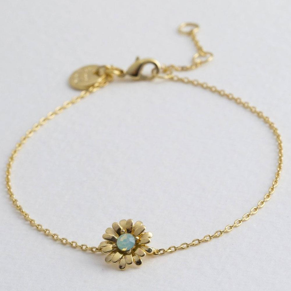 Crystal Daisy Charm Bracelet in Gold