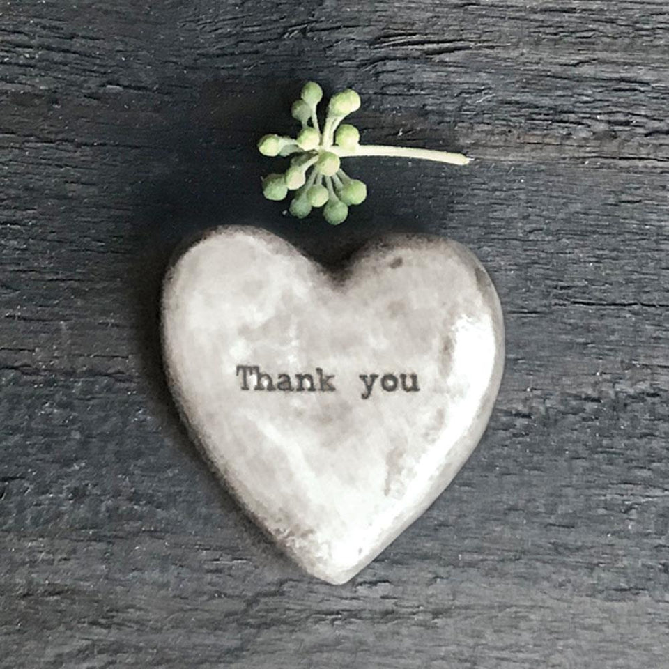 Thank You Grey Porcelain Heart Token