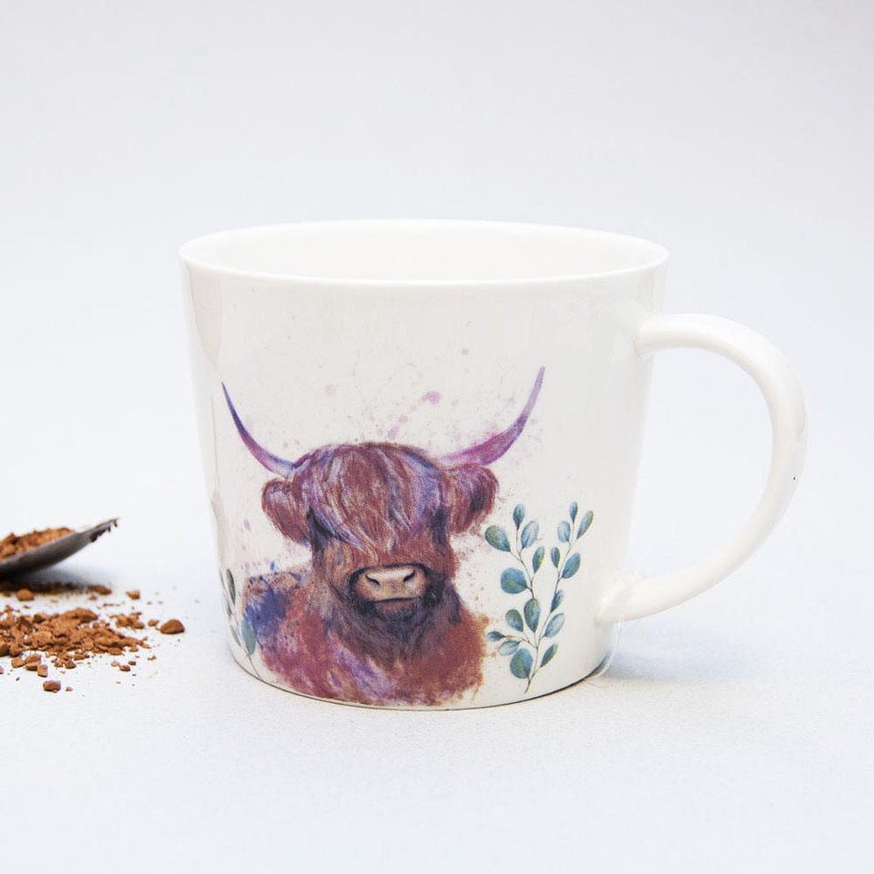 Watercolour Highland Cow Ceramic Mug