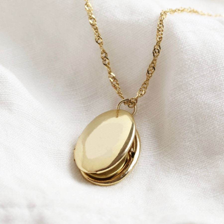 Oval Locket Necklace in Gold