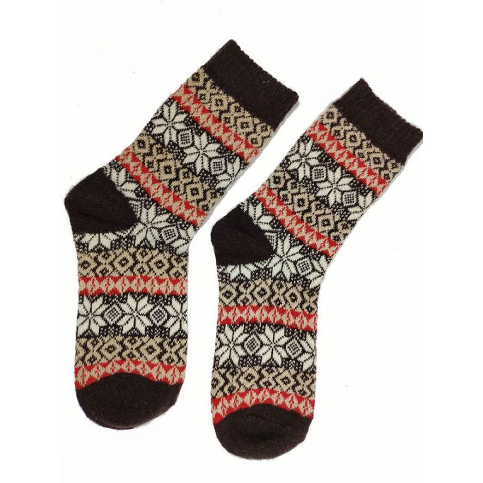 Brown Shetland Fairisle Wool Blend Socks