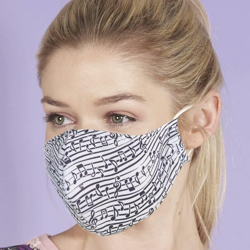 White Music Notes Reusable Face Cover Mask