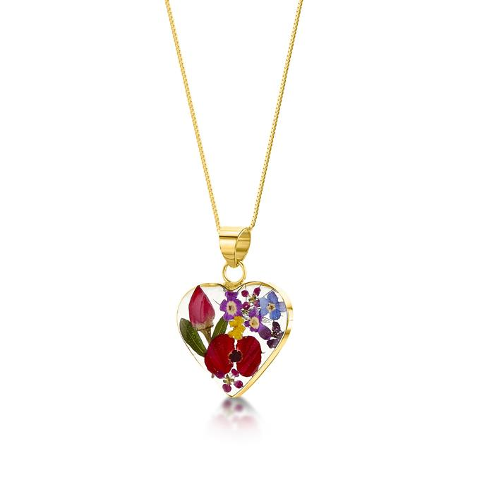 Mixed Flowers Medium Heart Gold Plated Pendant Necklace