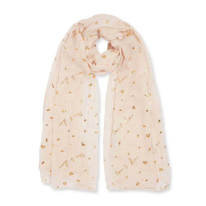 Time To Shine Nude Metallic Sentiment Scarf