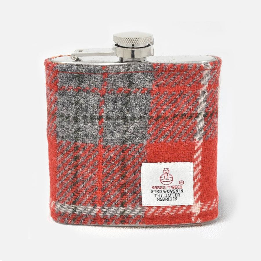 Red Grey Check Harris Tweed Hip Flask
