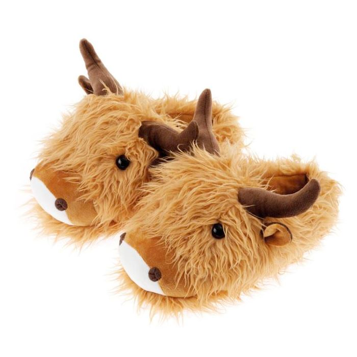 Highland Cow Fuzzy Friend Slippers