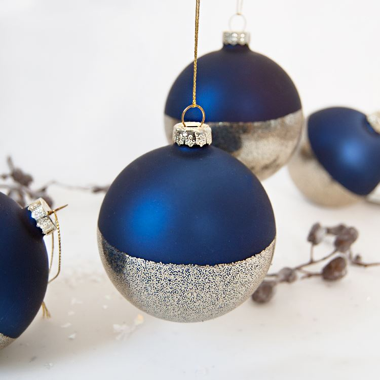 Blue & Speckled Metallic Bauble Set