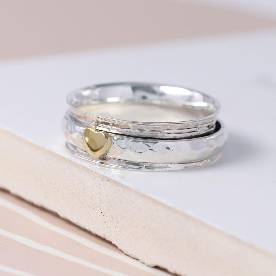 Gold Heart Sterling Silver Hammered Spinning Ring