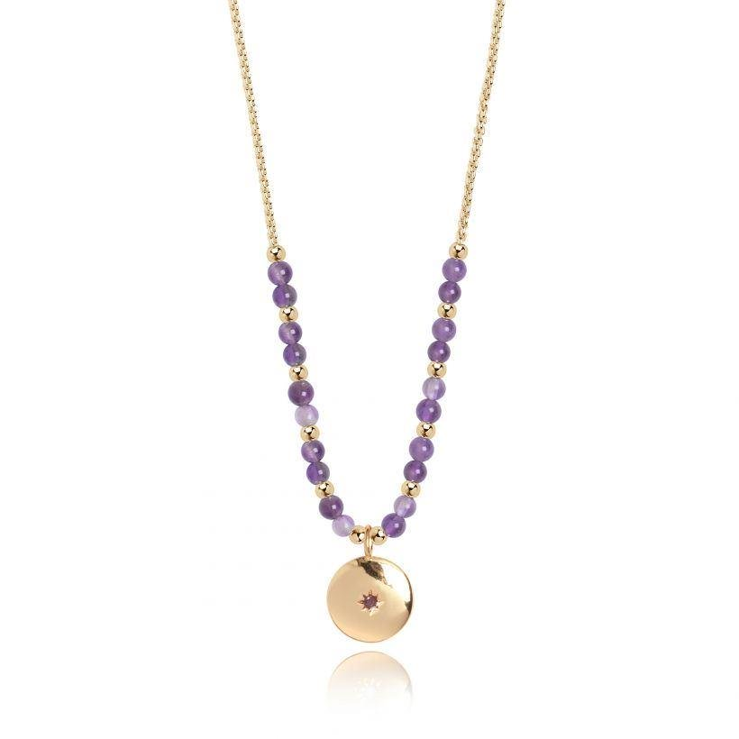 Family Gold Necklace with Amethyst Stones