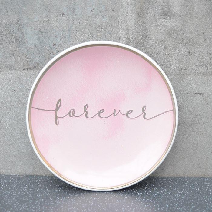 Pink & Rose Gold Forever Round Trinket Dish