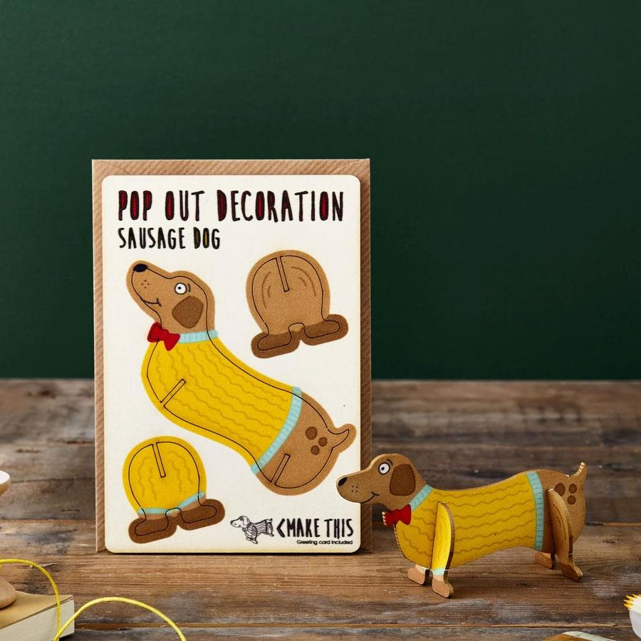 Sausage Dog Wooden Pop Out Card