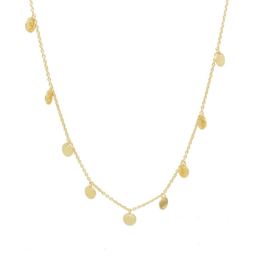 Hammered Gold Nine Disc Necklace