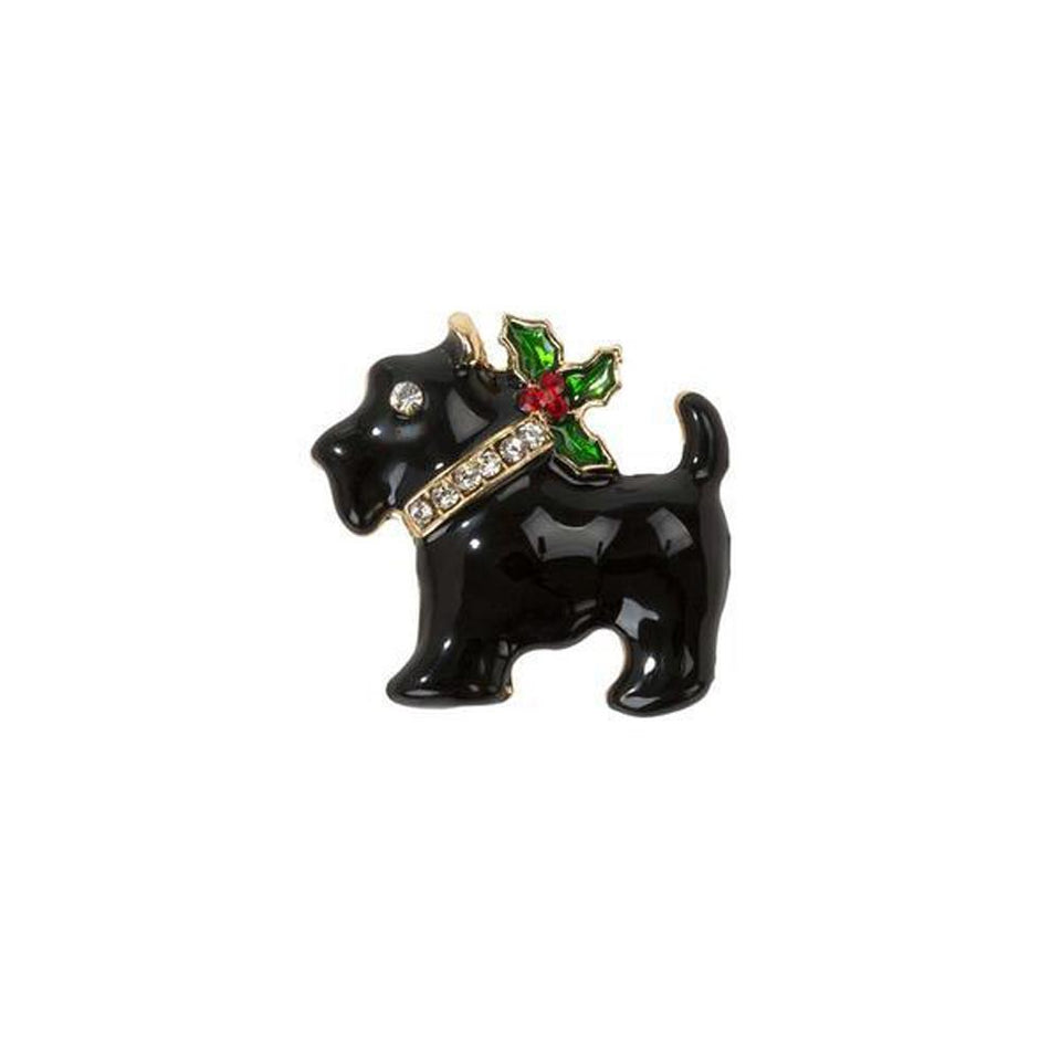 Festive Scottie Enamel Badge