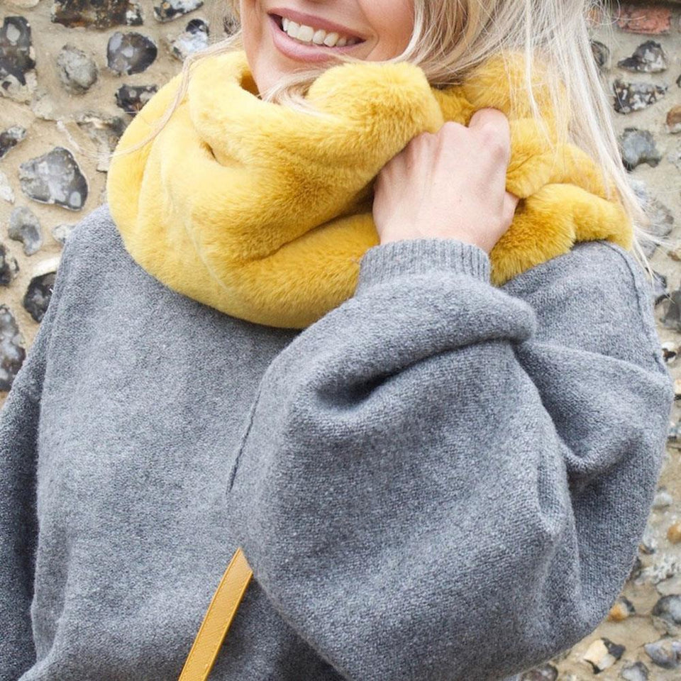 Faux Fur Snood in Mustard