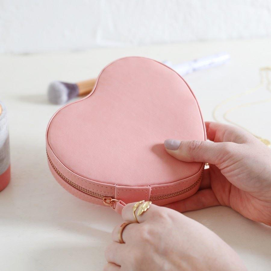 Peach Pink Heart PU travel Jewellery Box