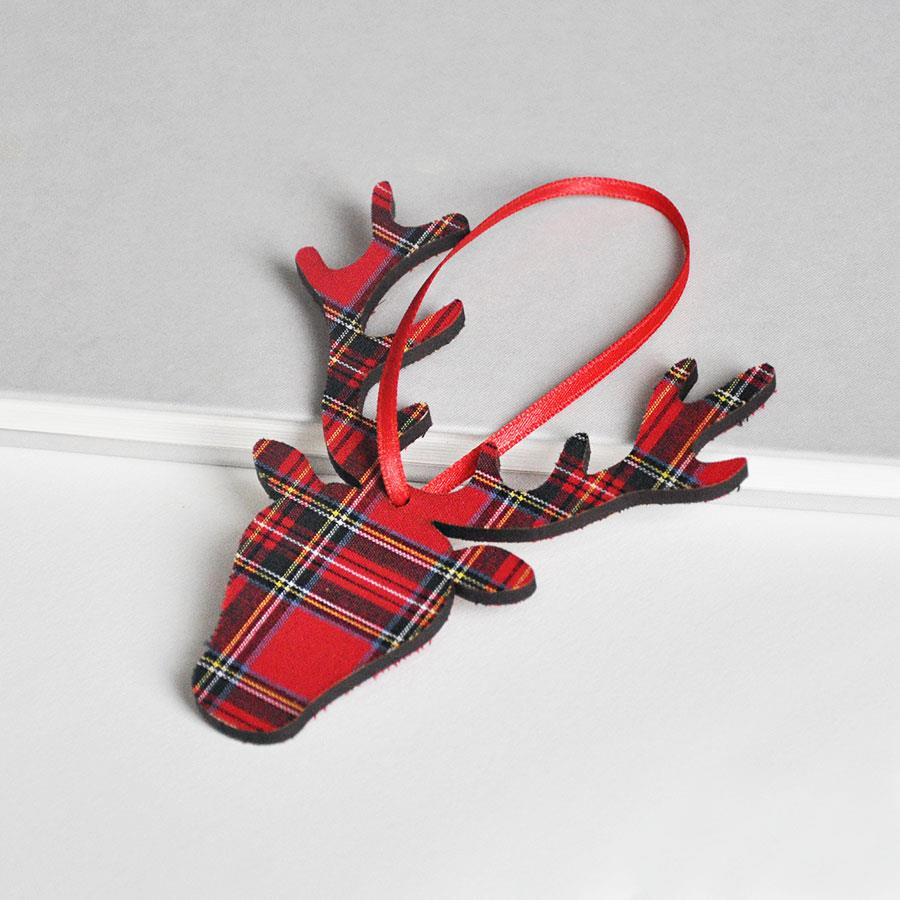 Royal Stewart Tartan Stag Head Hanging Decoration