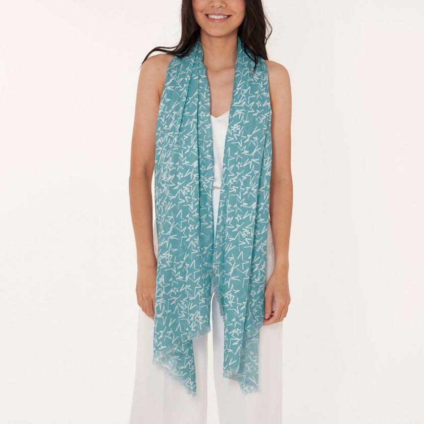 Aqua Blue Wish Sentiment Scarf