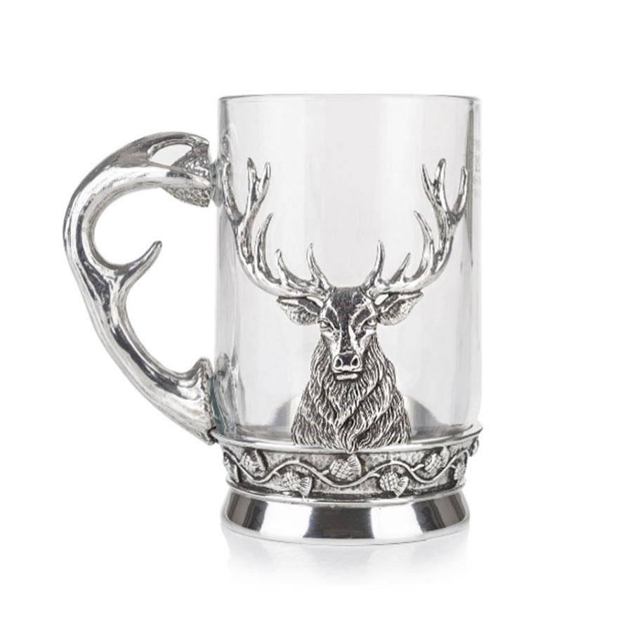 Stag Glass and Pewter Tankard