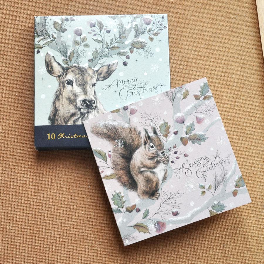 Stag & Squirrel Christmas Cards Set