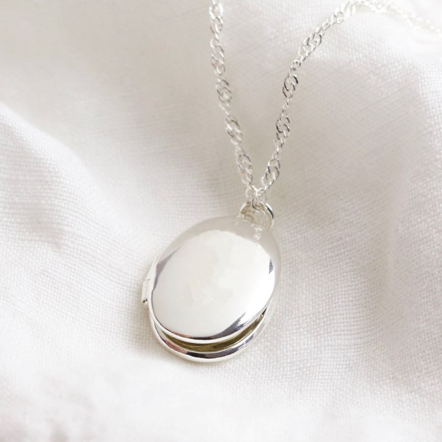 Oval Locket Necklace in Silver