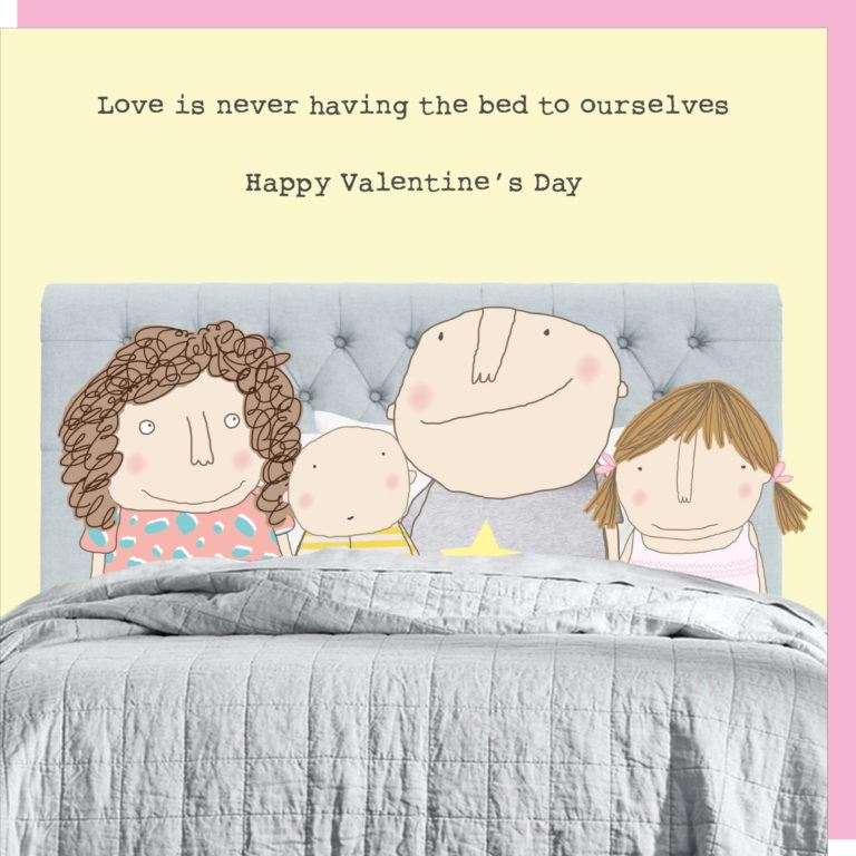 Crowded Bed Valentines Card