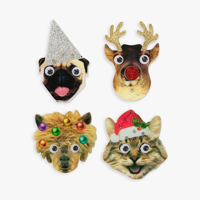 Christmas Animals Flashing LED Badge