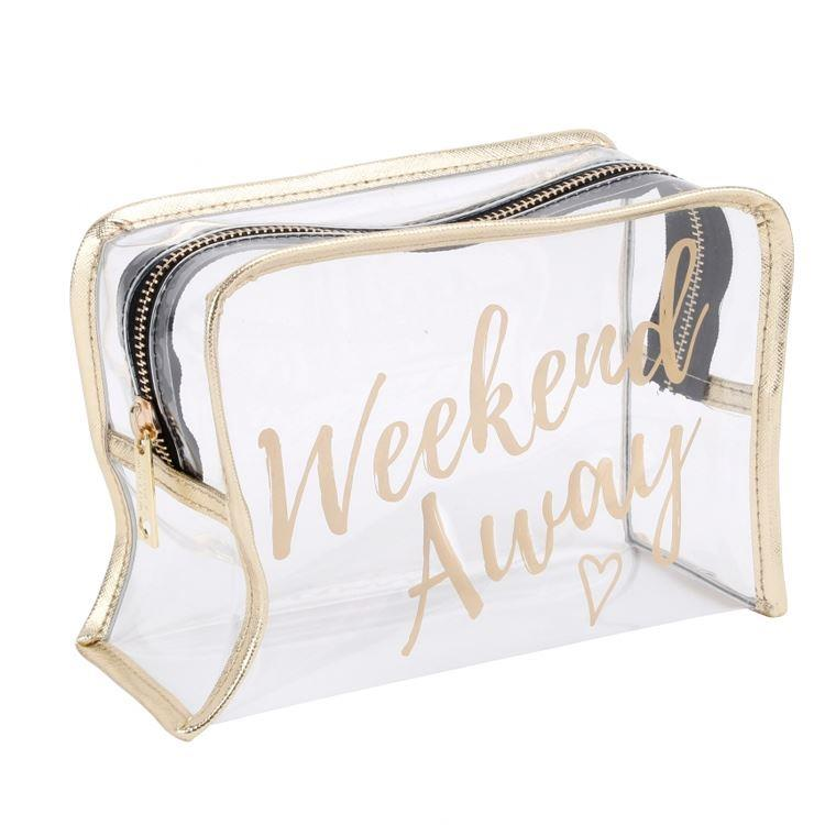 Weekend Away Clear Gold Wash Bag