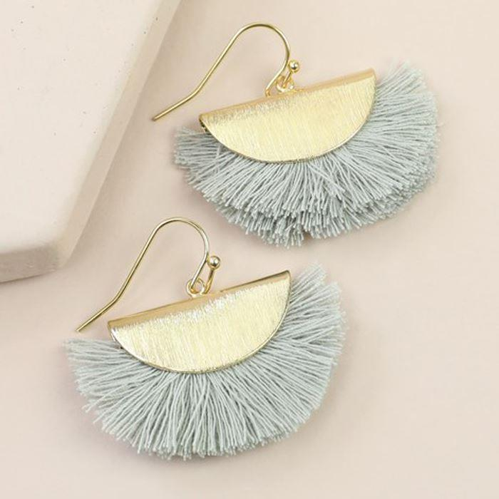 Grey Tassel Semi-Circle Earrings in Gold