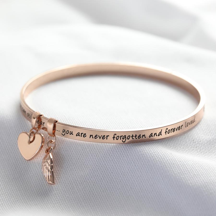 Never Forgotten Meaningful Word Bangle in Rose Gold