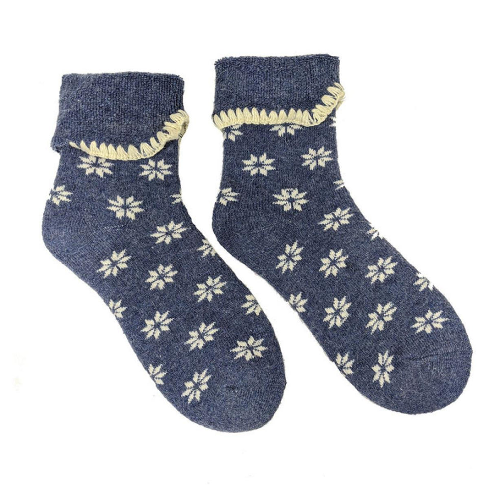 Blue with Cream Snowflakes Cuff Socks