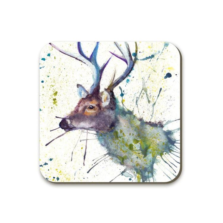 Green Splatter Stag Coaster