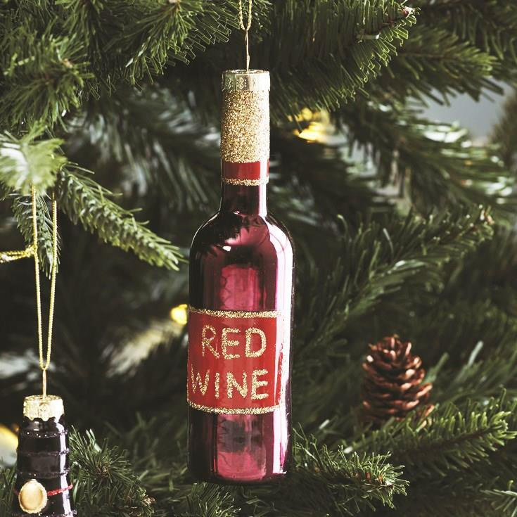 Lets Celebrate Red Wine Bottle Shaped Bauble