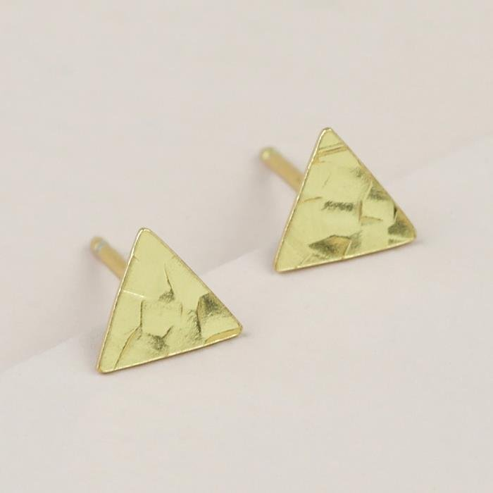 Gold Hammered Triangle Stud Earrings | Sterling Silver