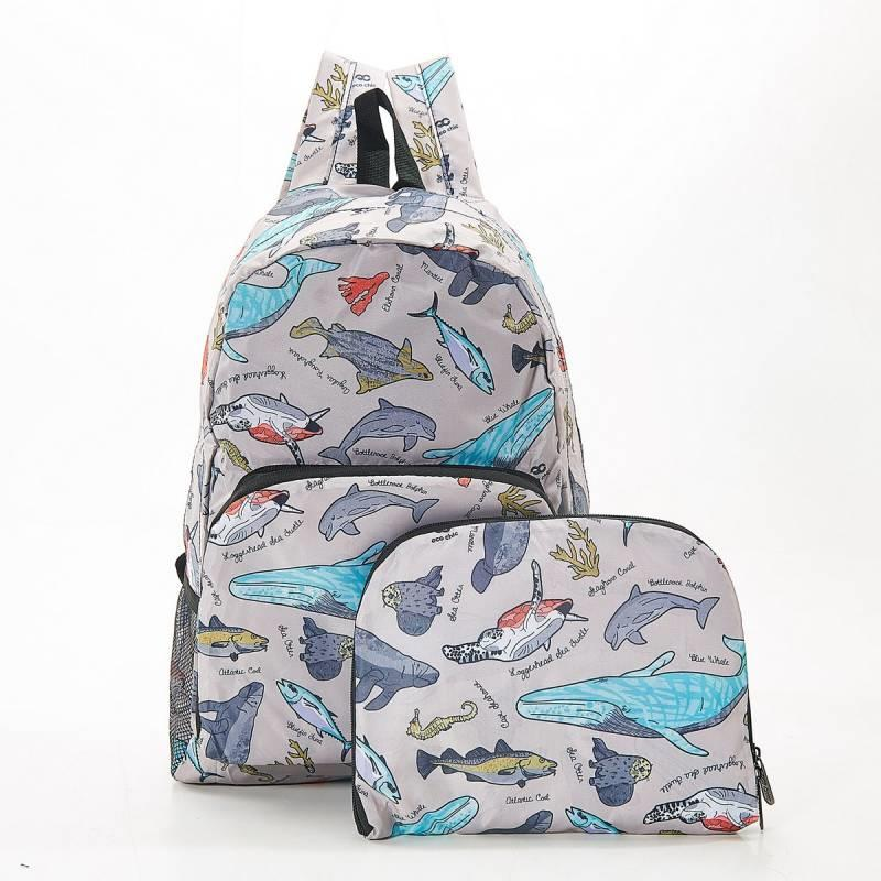 Grey Sea Creatures Foldable Backpack