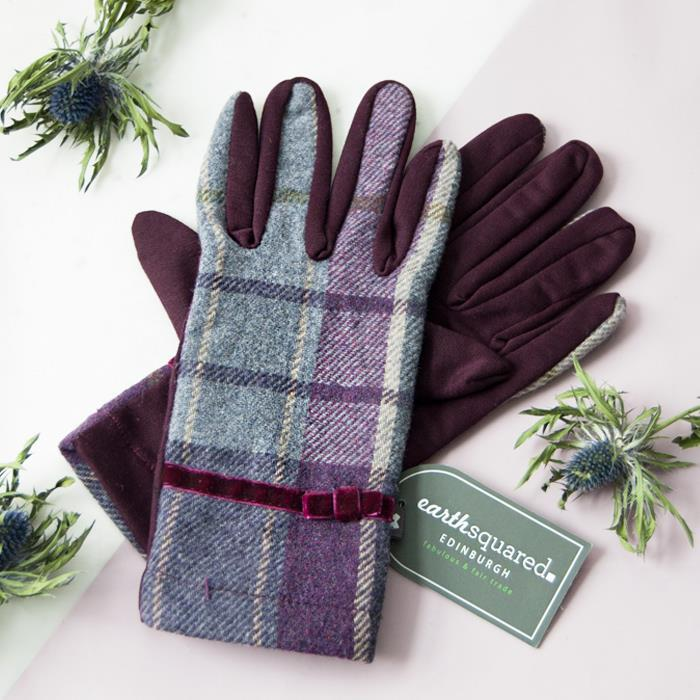 Purple Quartz Tweed Gloves