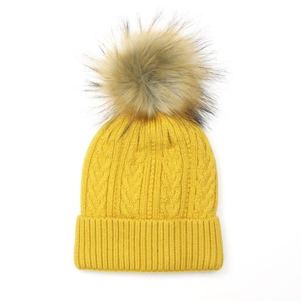 Mustard Yellow Cable Knit Hat With Faux Fur Pom Pom